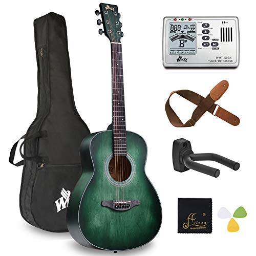WINZZ 3/4 Acoustic Guitar Travel Bundle with Bag, Metronome Tuner, Wall-mounted Hanger, Strap, Picks & Cleaning Cloth, Right Handed, 36 Inches, Dark Hunter Green