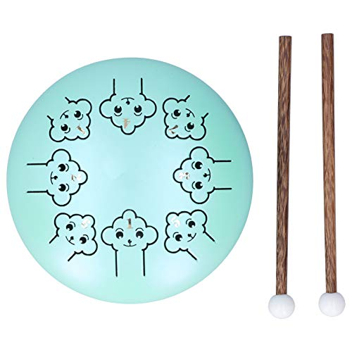 Tambor de Lengua de Acero de 5,5 Pulgadas SLADE Tambor de Percusión para Principiantes de Mano C Instrumento Musical de Tambor de Lengua con Llave(Verde)