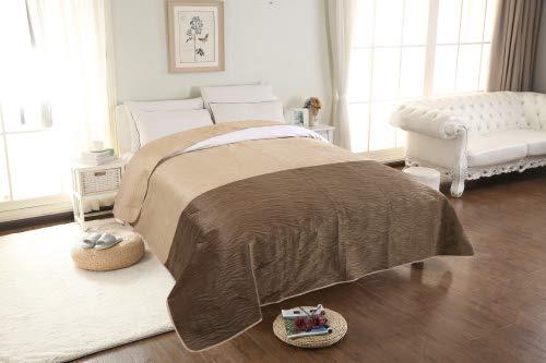 Velvet Dreifarbig Tagesdecke 160x200 200x220 Steppdecke Bettüberwurf Zweiseitig (BCBED-VELVET(04), 160 x 200 cm)
