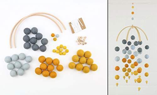 DIY Bastelset großes Mobilé aus Filzkugeln grau-gelb