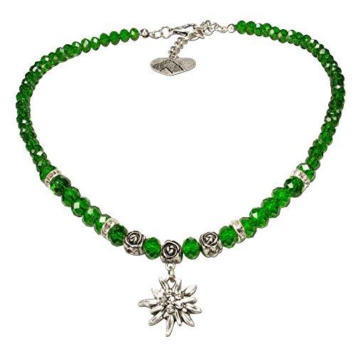 Alpenflüstern Perlen-Trachtenkette Fiona Crystal mit Strass-Edelweiß klein - Damen-Trachtenschmuck Dirndlkette grün DHK155