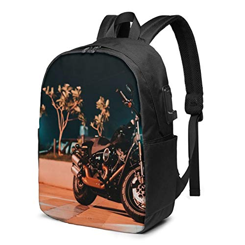 Laptop Rucksack Business Rucksack für 17 Zoll Laptop, Schwarzes Motorrad auf Pflaster geparkt Schulrucksack Mit USB Port für Arbeit Wandern Reisen Camping, für Herren Damen