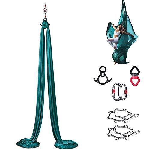 CHHD Juego de Columpio de Yoga aéreo, Equipo de Hamaca de Yoga aérea, Equipo de Fitness de Culturismo Colgante de Elasticidad para inversiones, Ejercicio, Gimnasia, Pilates, 8 m