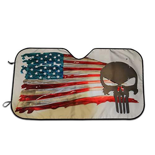 TY21 Parasol para Parabrisas de Coche con Bandera Estadounidense, Ajuste Universal, 51.2 Pulgadas x 27.5 Pulgadas, Parasol Delantero para vehículo SUV y camión, a la Moda