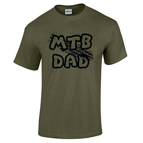Mountain Bike MTB Gifts Accessories MTB DAD T Shirt Top Funny Biking Clothing for Men MGREEN-M