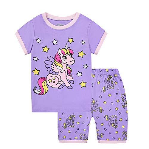 MIXIDON Pigiama Bambine Estivo 100% Cotone, Pigiami Due Pezzi da Ragazze a Maniche Corte con Unicorno, Manica Corta Pantaloncini per Bambina 2-9 Anni(Stile 1,9 Anni)