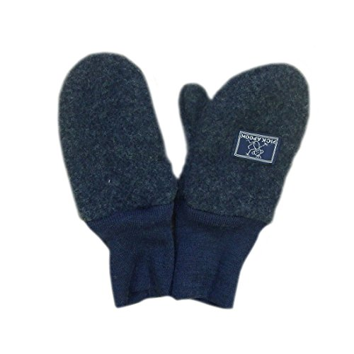PICKAPOOH Fäustlinge 100% Merinowolle Baby Kinder Fleece Handschuhe Armwärmer Winter Gr. 3-5 Jahre, dunkelblau