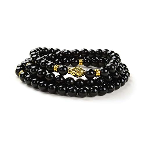 108 Japa Mala Beads Bracelet Buddha Charm Bracelet Necklace for Men Women Protection (Obsidian)
