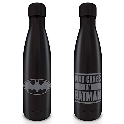DC Comics Batman Trinkflasche Who cares I'm Batman schwarz/grau, bedruckt, aus 100 % Edelstahl, Fassungsvermögen ca. 500 ml.