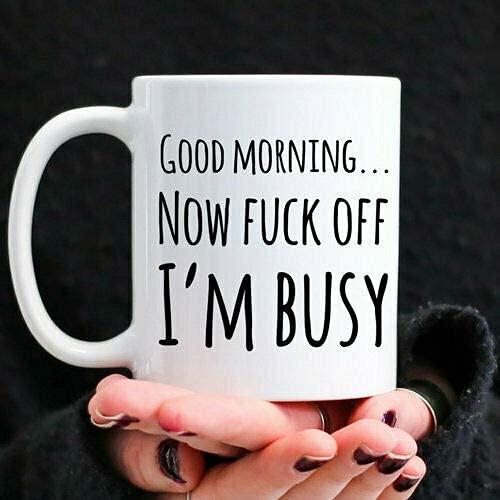 N\A Taza de café de 11 oz Taza de café Día de los Jefes Regalo Divertido para compañeros de Trabajo Regalo de Elefante Blanco Taza de Oficina F Word Regalo Divertido