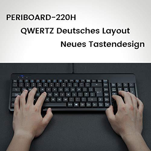 Perixx Periboard-220 Kompakte Tastatur mit USB Hub - 2 USB Hubs - mit Ziffernblock - Deutsches Layout