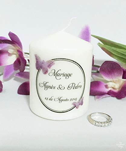 """Vela boda o aniversario""""Butterfly"""" personalizable. Detalles boda para"""