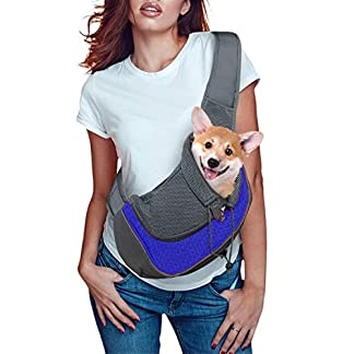 Pet Dog Cat Sling Carrier Bag Puppy Shoulder Carry Bag Hands Free Dog Papoose Carrier with Adjustable Shoulder Strap Pet Travel Carrier Tote Bag with Breathable Mesh Pouch for Outdoor Walking Subway 20