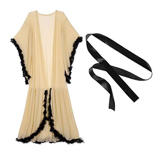TiaoBug Damen Mittelalter Kleider Nachthemd mit Trompetenärmel Bademantel Morgenmantel transparente Babydoll romantische Nachtwäsche Khaki One Size