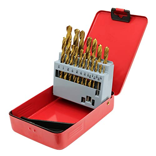 Monster & Master Titanium Plated Drill Bit Set, 21-Piece, High-Speed Steel Gold Drill Bits with 135 Degree Split Point Tip, 1/16' to 3/8', MM-TP-002