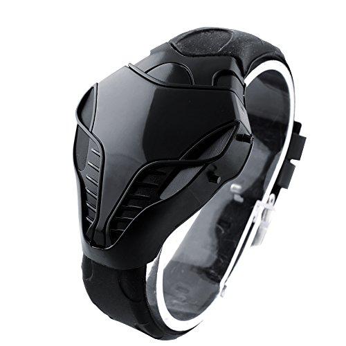 Abeillo Fashion Cobra Sportuhr Herren Freizeituhr Erstaunlicher Schlangenkopf Design Rote LED Digitaluhr Silikonband Uhr Schwarz