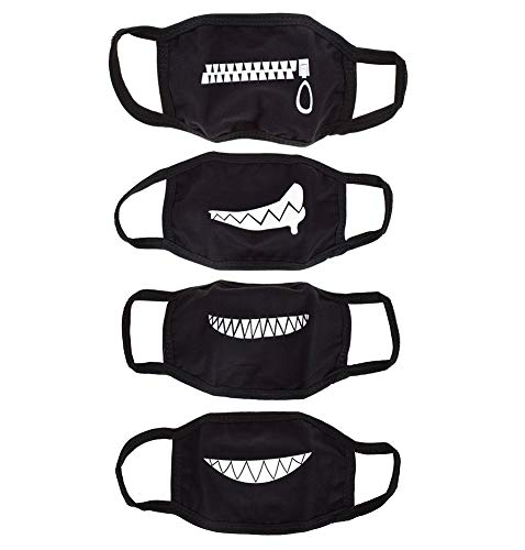 UTENEW Black Mouth Mask Anti Dust Face Mouth Covers Mask 4 Pack Funny Teeth Pattern Cotton Mask Unisex