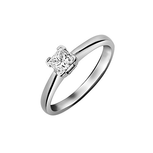 Jewelco London dames solide Platinum L-vorm 4 klauw set prinses G SI1 0.5ct diamant solitaire verlovingsring, maat