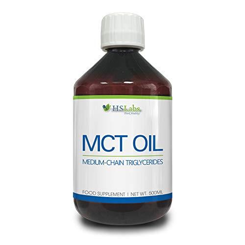 HSLabs MCT Öl Medium Chain Triglycerides Oil 500ml 41 Portionen aus Guineischem Samenöl Ergänzung der Ernährung in Mittelkettigen Fettsäuren ketogene Diät Intermittierendes Fasten (500ml)