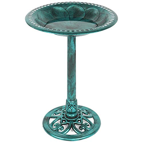 Best Choice Products Vintage Outdoor Resin Pedestal Bird Bath Accent Decoration w/Fleur-de-Lis Accents - Green
