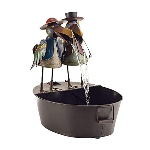 Brunnen-Hof-Kunst-Dekor, lustige Harz-Metall-Krähe-Wasser-Brunnen, Eulen-Wasser-Brunnen-Yard-Statue-Dekoration, 6-Zoll-Metall-Hahn-Außen-Wasser-Brunnen für Gartenterrasse, Terrasse, Veranda (Crow)