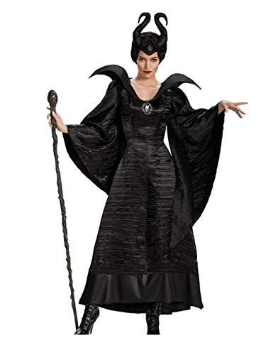 HARMON Halloween Disguise Witch Slim Kleid, Black Witch Maleficent Kostüm Set Für Frauen, Perfekt Für Cosplay,M