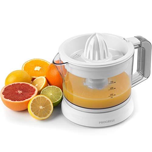 Progress EK3071P Electric Squeezer Citrus Juicer, Citric Fruit Press, Juice Extractor, 25W, Adjustable Pulp Filter, 750 ml Jug with Pouring Lip, Squeezes Various Fruits: Oranges, Lemons, Grapefruit