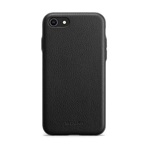 WIIUKA Hülle für iPhone SE 2020/8 / 7, Deutsches Leder, Lederhülle extra Dünn, Premium Handyhülle, Hülle, Qi, Schwarz