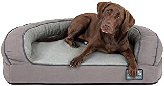 Better World Pets Super Comfort Bolster Dog Bed   New Improved Cover   Waterproof Orthopedic Memory Foam   Durable Canvas Cover, Extra Plush Fleece + Foam Bolsters   5 Inch Thick, Washable