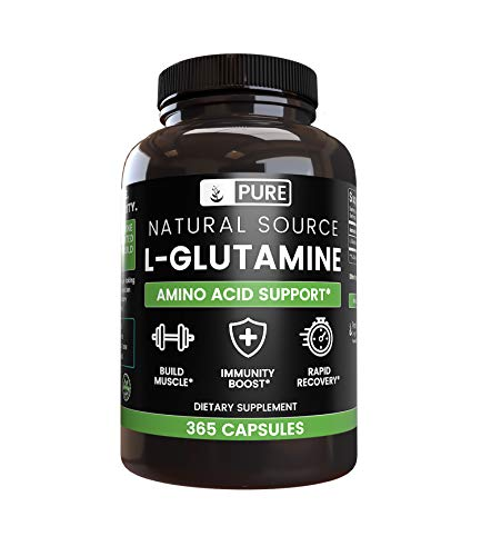 100% Pure L-Glutamine, 365 Capsules, 6-Month Supply, No Magnesium or Rice Filler, Non-GMO, Gluten-Free, Made in USA, Naturally-Sourced and Potent L-Glutamine Amino Acid with No Additives