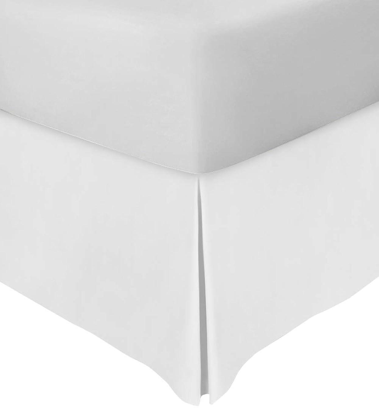 地獄メモ知恵Rahooプレミアム品質ベッドスカートキング16インチドロップ分割コーナー500?Thread Count品質1?pcベッドスカートwith 100?%エジプト綿(ホワイトソリッドKing 78?x 80サイズ)