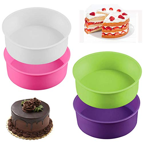 XYDZ 4Pcs Silicone Cake Moulds Tins Round Cake Pan Set of 6 Non-Stick Baking Molds Bakeware Tray for Birthday Party Wedding Anniversary 4 Colors