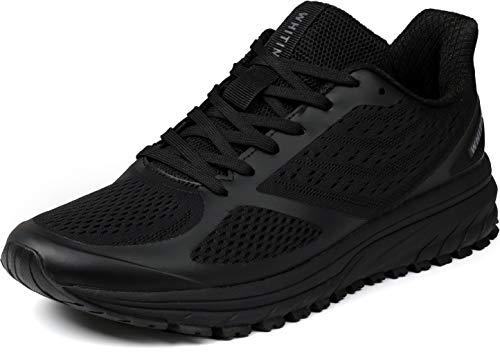 WHITIN Laufschuhe Damen Joggingschuhe Straßenlaufschuhe Turnschuhe Sportschuhe Gym Schuhe Walkingschuhe Fitnessschuhe Leichte Alltagsschuh Dämpfung Running Shoes Traillauf Schuhe Schwarz 38 EU