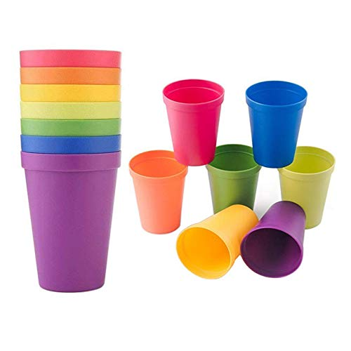 Enzege Vasos de Plástico, 8 Piezas, 200 ml, Sin BPA para Camping, Picnic Camping Tazas