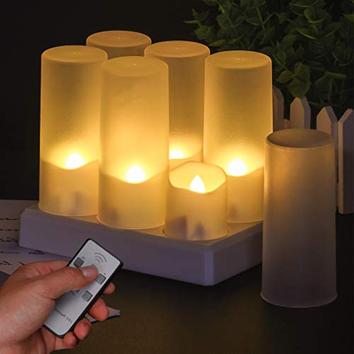 LED Candles Tea Lights, 6 LED Flameless Tea Lights, Flickering Candles with Timer Unscented Tea Light Party Decoration for Christmas Wedding Party Decoration (Pack of 6 with Frosted Cup Lampshade)