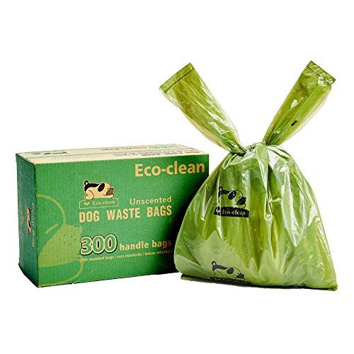 Ecoclean Dog Poop Bags 300Count Dog Waste Bags with EasyTie Handles Guaranteed LeakProof EarthFriendly Unscented OXOBiodegradable Pet Poop Bags Not on Rolls