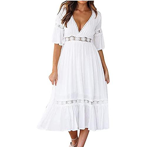 yiouyisheng Damen Chiffonkleid Lang, Abendkleid Maxikleider Damen Kleid Kurzarm V-Ausschnitt Einfarbig Aushöhlen Langes Kleid aus Chiffon,...