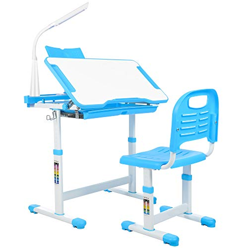 Aussumy Kids Desk and Chair : Height Adjustable Student Study Desk Children Tiltable Wr iting Desktop Bookstand for Boys & Girls Blue