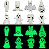 8PCS Halloween Decorations Glow in The Dark Statues Fairy Garden Accessories Outdoor Luminous Ghost Gnome Bat Mummies Coffin Tree Ent for Decor Plant Tree Miniature Patio Lawn Yard Kit