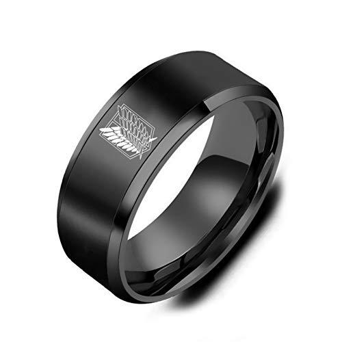 Attack on Titan Ring, QEPOL Wings of Freedom Logo Anillo de acero inoxidable para hombres Anillo de dedo grabado de anime pulido Anillo de acero de titanio Joyería de moda para hombres (Negro, 7)