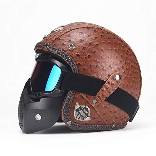 WUYEA Casques De Moto avec Masque De Masque Open Face Vintage PU Casque De Vélo en Cuir pour Hommes Et Femmes,L