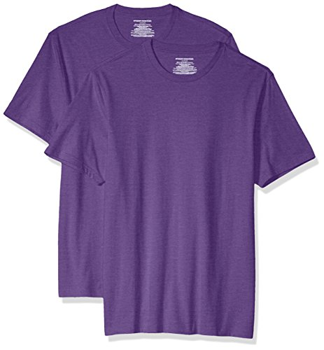 Amazon Essentials 2-Pack Slim-Fit Short-Sleeve Crewneck fashion-t-shirts, Purple Heather, XX-Large