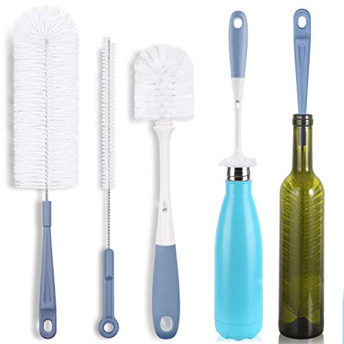 Bottle Cleaning Brush Set - Long Water Bottle and Straw Cleaning Brush - Kitchen Scrub Cleaner Set for Narrow Neck Beer Brewing Supplies, Sports Water Bottles, Straws Baby Bottles, Cups (Set of 3)