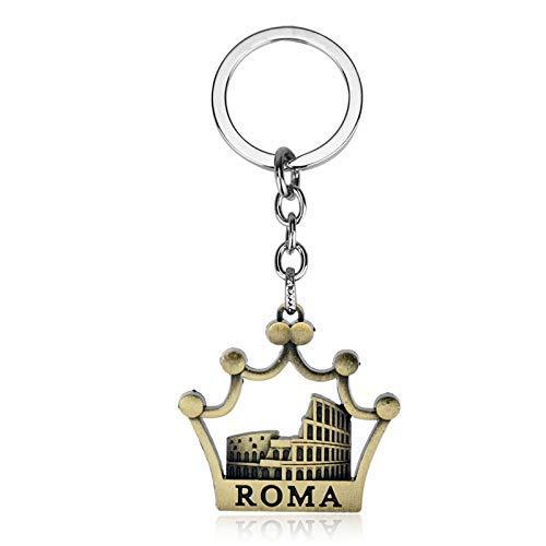 AMITD Schlüsselbund Schlüsselring Mode Krone Schlüsselanhänger Roma Colosseum Metall Anhänger Schlüsselanhänger Schlüsselanhänger Für Frauen Männer Souvenirs Geschenk