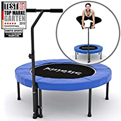 Kinetic Sports Fitness Trampoline Ø 100 cm, RONDE, poignée de maintien réglable en hauteur, suspension en caoutchouc, couverture de bord bleu, résistant jusqu'à 120 kg