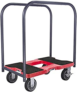 SNAP-LOC ALL-TERRAIN PANEL CART DOLLY RED with 1500 lb Capacity, Steel Frame, 6 inch Casters, Panel Bars and optional E-Strap Attachment