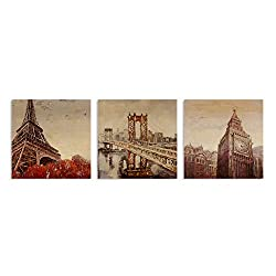 B BLINGBLING Wall Decorations for Living Room: Eiffel Tower Brooklyn Bridge and London Big Clock 3 Piece Canvas Wall Art with Frame Ready to Hang (16x16inx3)