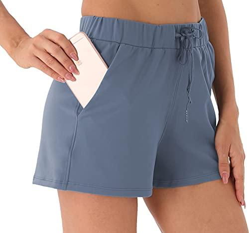 Persit Pantalones cortos de deporte para mujer, transpirables, con bolsillos y cordón, Color azul., M