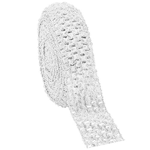 GORGECRAFT 5.5 Yards 1.7' Wide Elastic Crochet Headband Ribbon Crochet Stretch Trim Fabric for Hair Accessories Tube Top, White