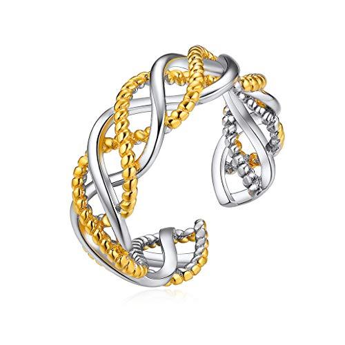 Silvora anillos plata de ley 925 mujer anillos ajustable plata hombre ADN...